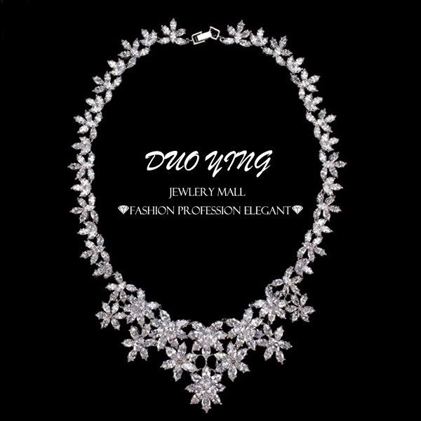 Комплект ювелирных изделий Collares Mujer Joyas Свадебное Платье Белого Золота Кубический Цирконий Ожерелье Для Женщин cc Pequenos Perola
