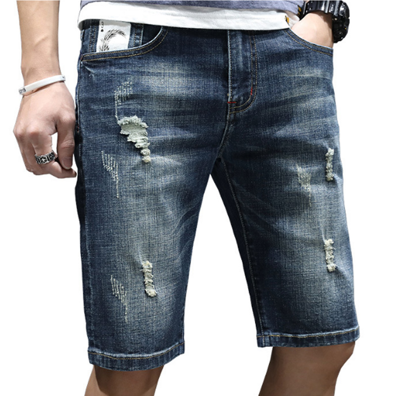 Idopy Denim Shorts Jeans Pants Stretch Slim-Fit Elastic Ripped New-Fashion-Style High-Quality
