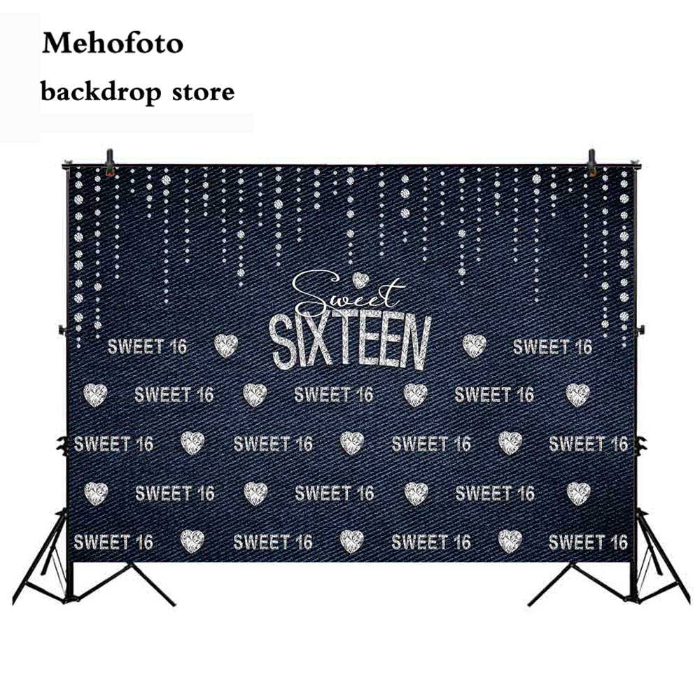Mehofoto Sweet 16 Birthday Theme Party Decoration Photography Banner Royal Sixteen Backdrop for Photo Studio Crown Props 229