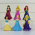 Best Girls Gift Disney 6Pcs/Set Princess Play Set Snow White Ariel Belle Rapunzel Aurora PVC Action Figures Dolls With Glitter