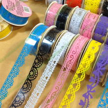 12pcs/lot Multicolor Lace Adhesive Scrapbook Tape DIY Candy Decoration Roll Sticky Paper Masking Tape B1