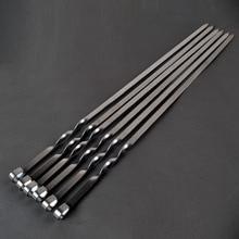 21.6 55 センチメートルステンレス鋼バーベキュー串スティックバーベキューフォーク針セットハンドルkabobの串フラットヘビキャンプツール