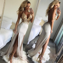 Women Elegant High Slit Evening Dress V-neck Backless Formal Party Prom