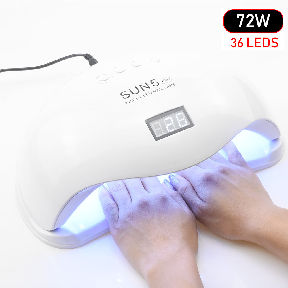72W UV LED Lamp Nail Dryer UV LED Nail Lamp Gel Polish Curing Lamp with Bottom 30s/60s Timer LCD Display Lamp for Nail Dryer beautybigbang 36w uv lamp led nail lamp dryer 18 leds nail dryer for all gels polish with 30 60 99s timer lcd display nail lamp