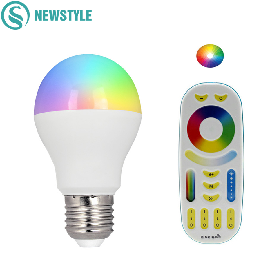 Mi Light 6W RGBCCT LED Bulb Lamp Light 2.4G RF Wireless Dimmable E27 AC86-265V Spotlight Indoor Decoration mi light 2 4g mr16 4w led bulb rgbww rf professional smart led spotlight wireless wifi controller for led bulb ac dc12v