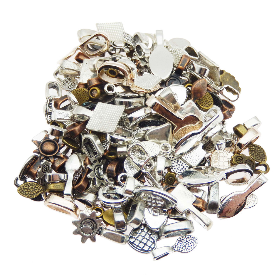 Style 10 100pcs Mixed Color Fashion Jewelry Earring Bails for Glass Tile DIY Pendants Glue on Bail