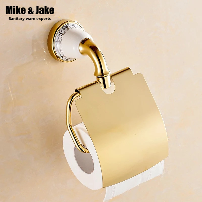 Bathroom Gold Toilet Paper Holder with ceramic,Roll Holder,Tissue Holder,Solid Brass -Bathroom Accessories Products heavy bullet head bobbin holder with ceramic tube tip protecting lines brass copper material