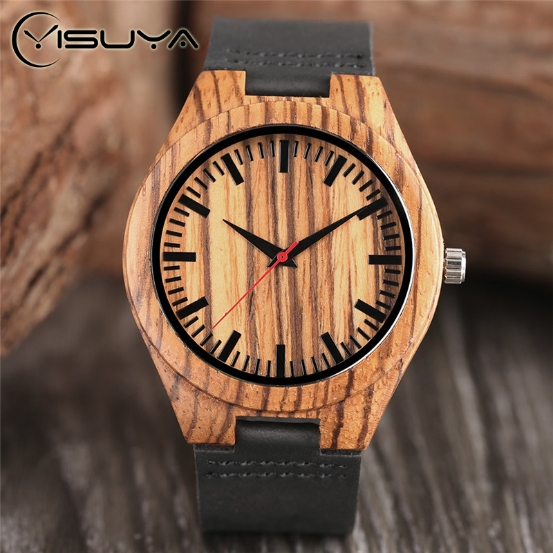 YISUYA Casual Nature Wooden Male Creative Wrist Watch With Black Genuine Leather Band Strap Men Bamboo Quartz Watches Relojes bobo bird monkey watch wooden relojes quartz men watches casual wooden color leather strap watch wood male wristwatch for gift