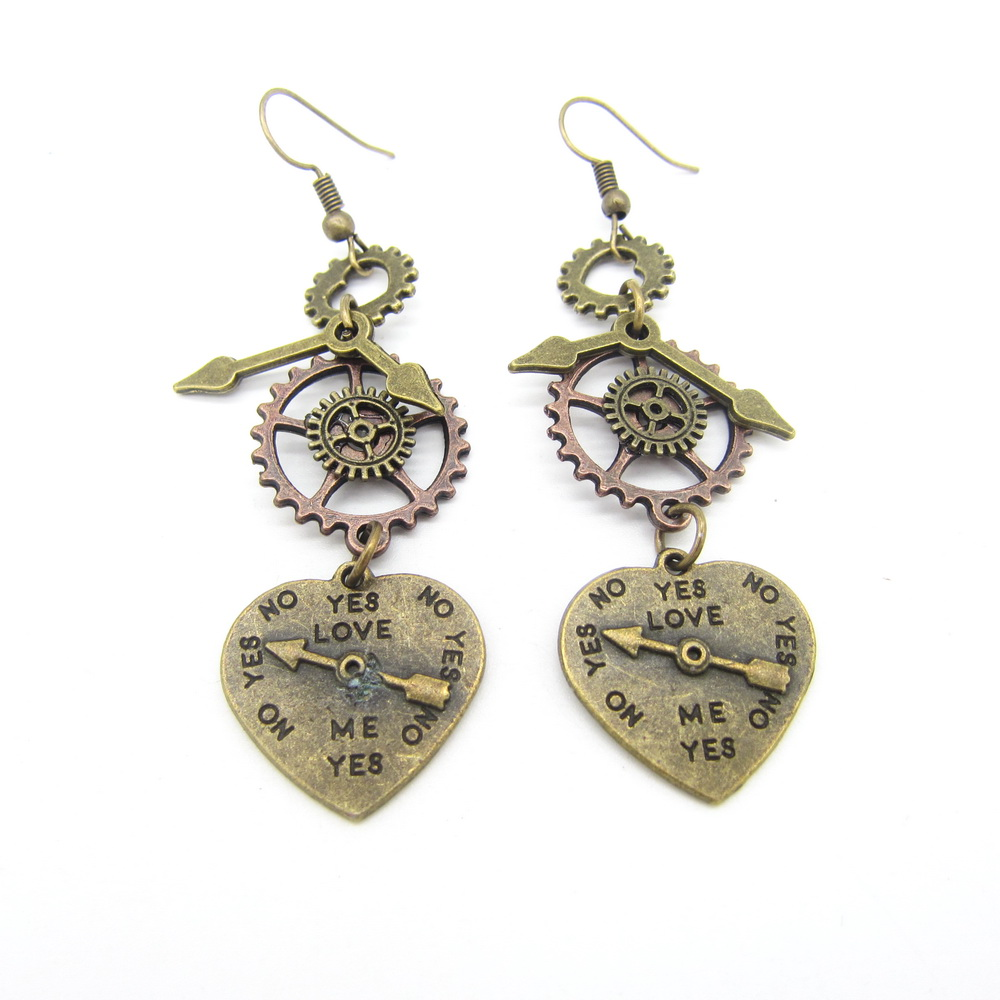 Cykopv New Original Design YES for LOVE Heart Charms Vintage Steampunk Gears Drop Earrings