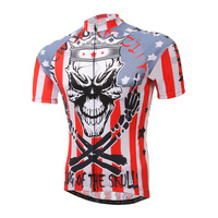 Cycling Jersey Men Summer Short Sleeve Tight Pro Team Red Skull Anti Sweat Bike Shirt Bicicleta