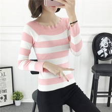 Ladies Pullover Female 2017 new  Long Sleeve Winter Sweater Women Jumper Striped Tricot Autumn Winter Tops Pull Femme Blue