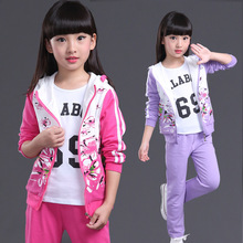 Kids clothes sets New spring Fall hello kitty girls 2 pcs suit jackets hoodies+pants baby set girls sport suit outwear 4-12 Y