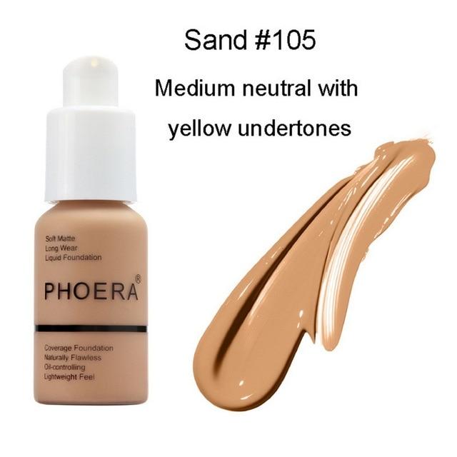 PHOERA Soft Matte Light Cream Long Lasting Liquid Face Foundation Makeup Coverage Foundation Natural Oil Control Maquiagem 3