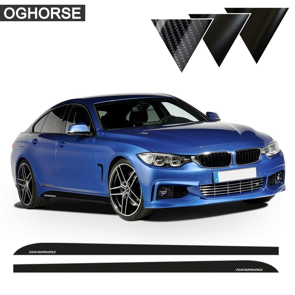 "5D ""Carbon New M Performance Sill"" Side Stripes lipdukai, skirti BMW 3 5 serijos F30 f31 x5 f15 f10 f11 e60 e61 f22 f23 e90 f32"