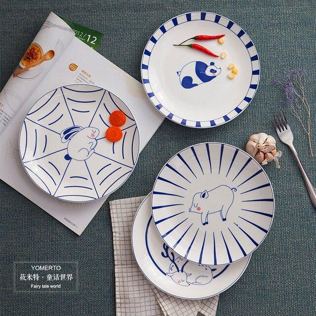 6ea791de8c013d Retro creatieve thuis restaurant gerechten Westerse stijl voedsel schotel  ronde blauw en wit servies plaat koude