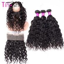 Tinashe Hair 360 encaje Frontal con 2 3 mechones extensiones de pelo ondulado mechones Remy brasileños con cierre extensiones con ondas al agua mechones con Frontal
