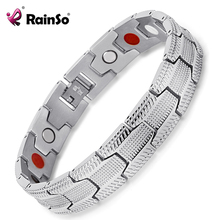 RainSo Mens Bracelets Stainless Steel Magnetic Therapy Bracelets Germanium Jewelry Wristband Dropshipping 2019 New Arrivals