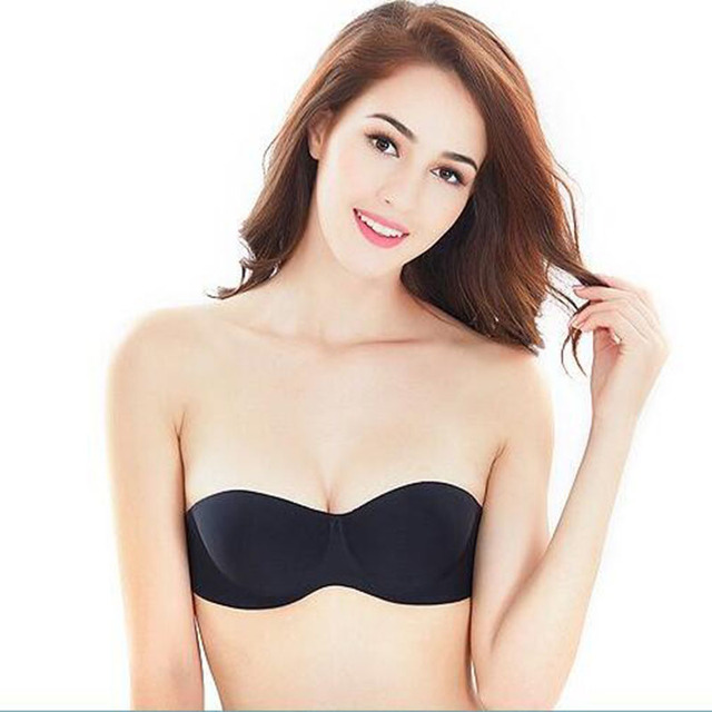 ea407b2421 Women Sexy Strapless Bra Invisible Backless Bra 1 2 Cup Wedding Underwear  Bralette Push Up Backless strapless Bra