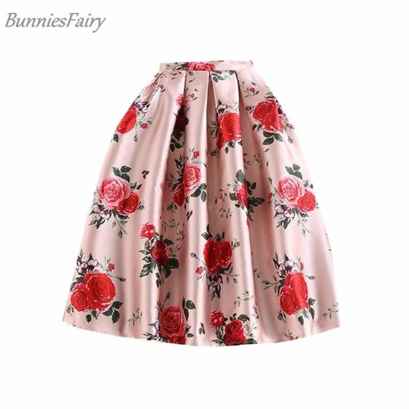 BunniesFairy 2018 Spring New Sweet Princess Style Ladies Pink Retro Rose  Flower Print High Waist Midi eae50cdb46df