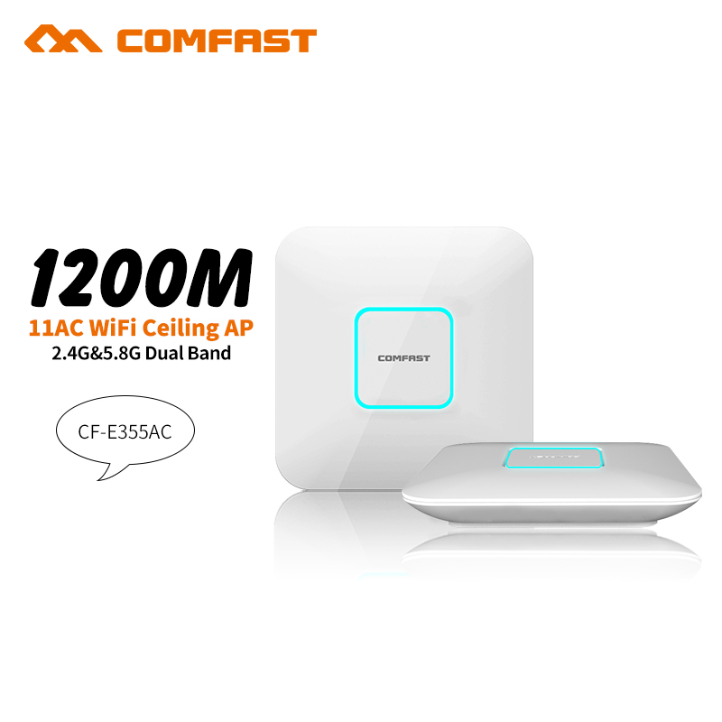 2pcs COMFAST CF-E355AC 1200Mbps Ceiling AP 5.8G+2.4G Wifi Signal Amplifier router Dual band 802.11ac access point AP for office comfast full gigabit core gateway ac gateway controller mt7621 wifi project manager with 4 1000mbps wan lan port 880mhz cf ac200