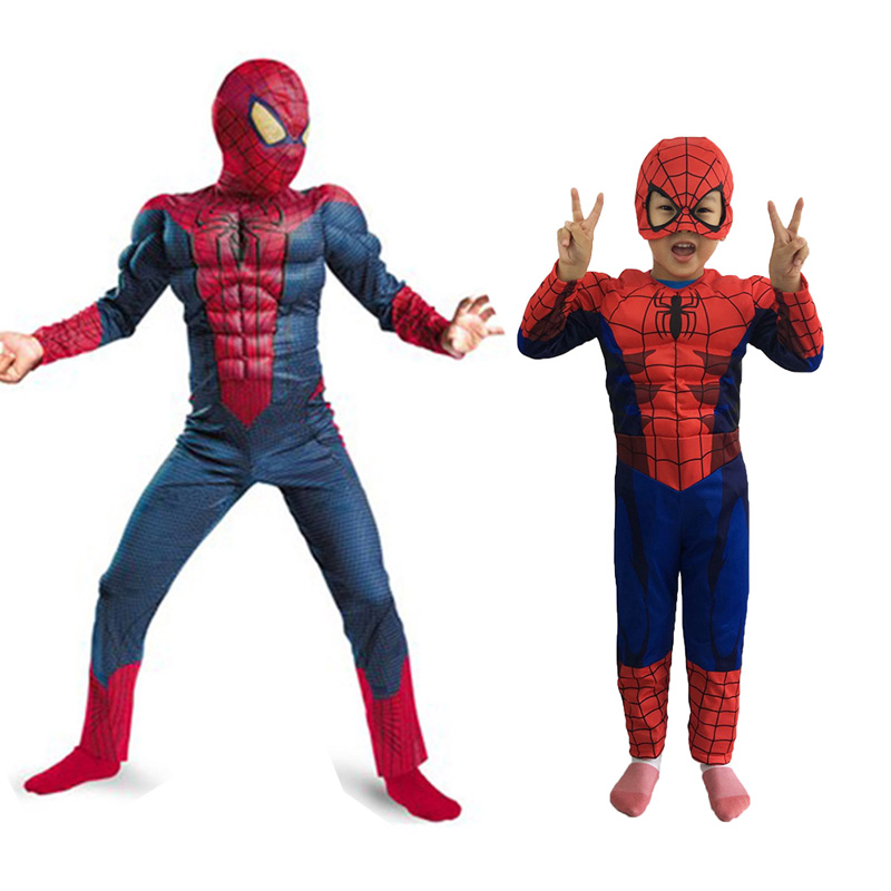 Amazing Spider-Man Costume for kids Super hero Fancy dress Halloween Party decorations supplies children gifts