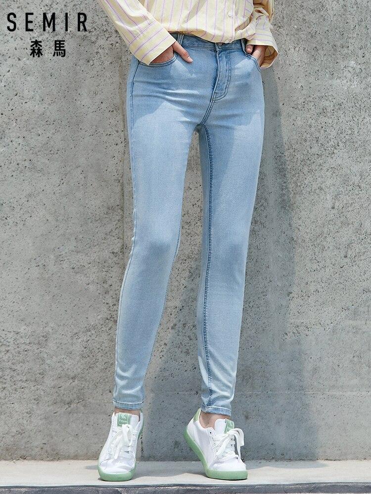 SEMIR High Waist Jeans Women 2019 Autumn New Ladies Elastic Korean Version Slim Feet Cotton Pants Thin Pencil Pants