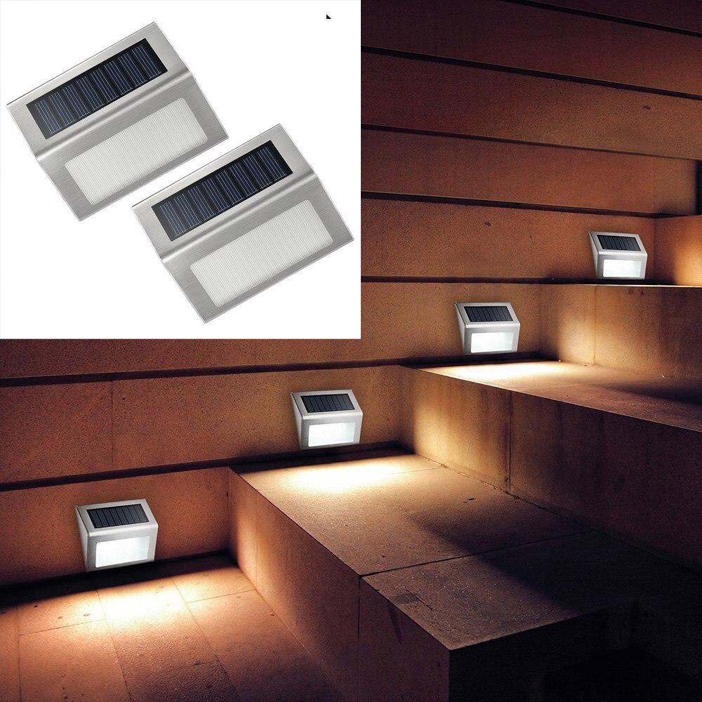 Solar Garden Light Stainless Steel 3 X LED Solar Lamp, Solar Outdoor Lamp  Stairs Solar Street Lamps