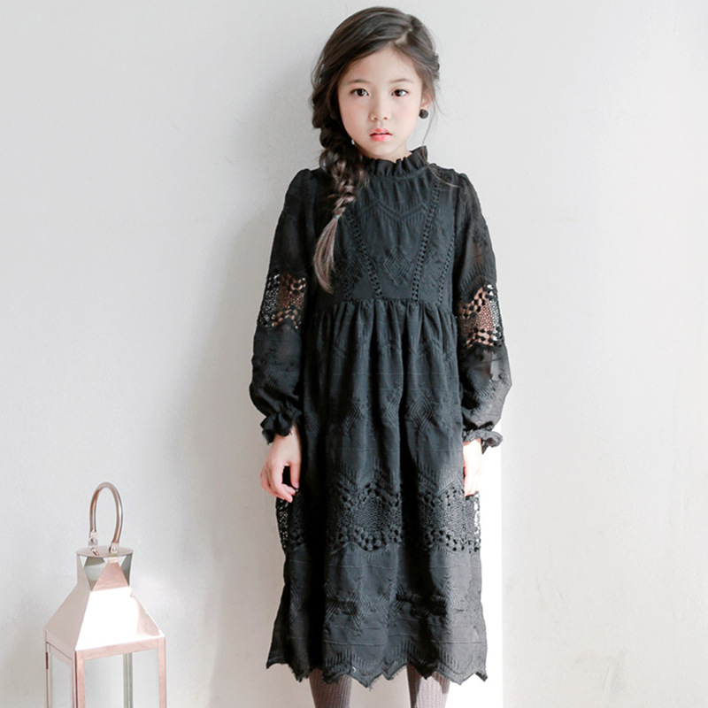 Baby Princess Dress 2018 Fashion Kids Dresses For Girls Ball Gown Toddler Teens Clothing Girls Party Black Lace Dress 4 14Yrs