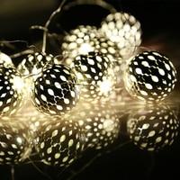 Festival Lighting 20 LED Lamp String Battery Box Silver Metal Sphere Lighting Christmas Lights Festival Decoration