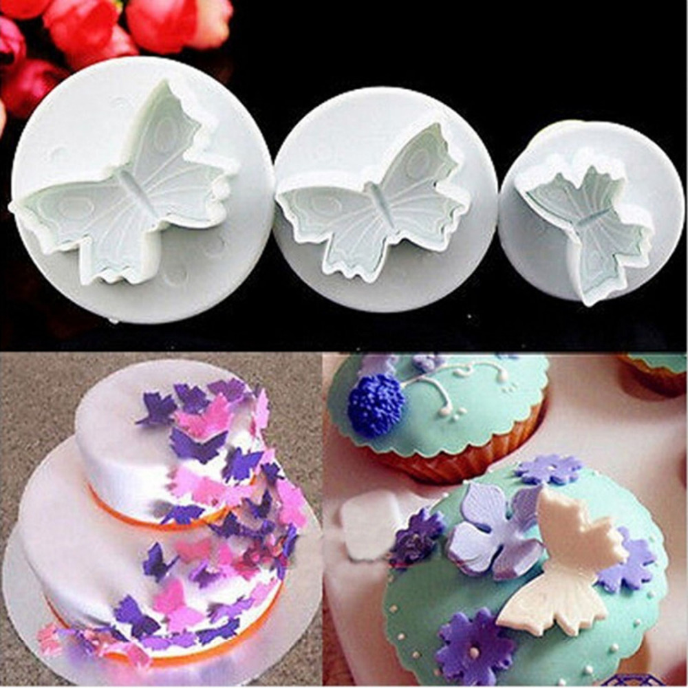 NEW SALE Butterfly Plunger Cutter Mold Sugarcraft Fondant Cake Decorating Diy Christmas Cake Decorating Tools 3Pcs/Set