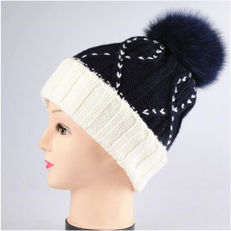 [aide chebi]Skullies & Beanies  Woolen Hat Winter For Women's cap Beanie Woven Warm hat pom winter hats for women skullies