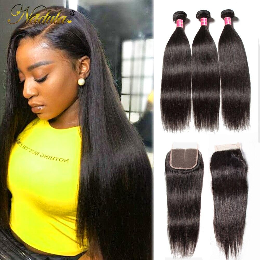 Nadula Hair Indian Straight Hair Bundles With Closure 3 Bundles With Closure 100 Remy Human Hair