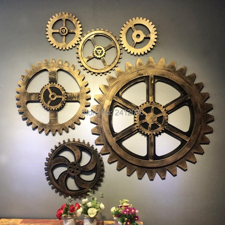 Decoratie Borden Voor Aan De Muur.Us 19 85 24 Off Vintage Gold Gear Wheel Imitatie Metaal Hout Gear Bar Cafe Muur Decor Opknoping Decoratie Oude Shabby Chic Borden Houten Beeldje In