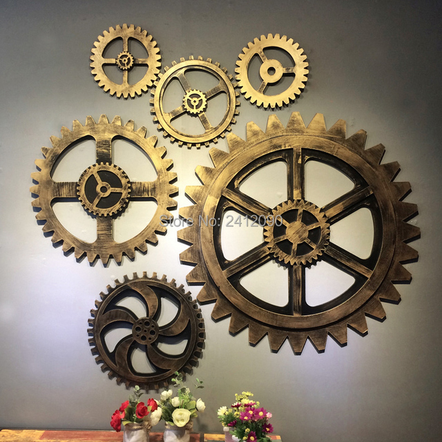Lovely vintage gold gear wheel imitation metal wood gear bar cafe wall  RS64