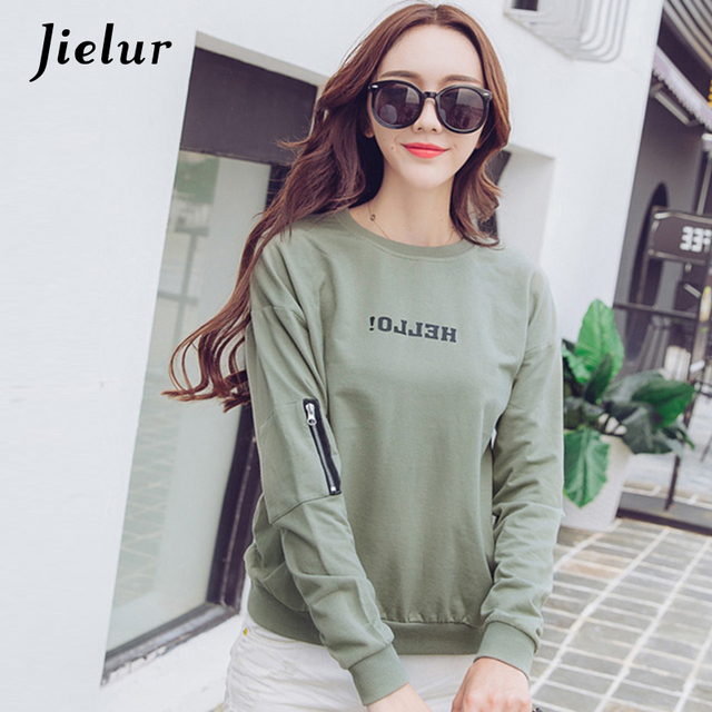Jielur 2018 Autumn Kpop Letter Sweatshirt for Women Casual O-neck Zipper Hoodies Loose Thin Full Sleeve Top Female Army Green