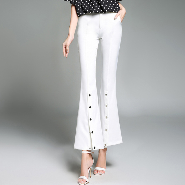 40 New Spring Fashion White Slim Button Womens Skinny Palazzo Pant Mesmerizing Palazzo Pants Pattern