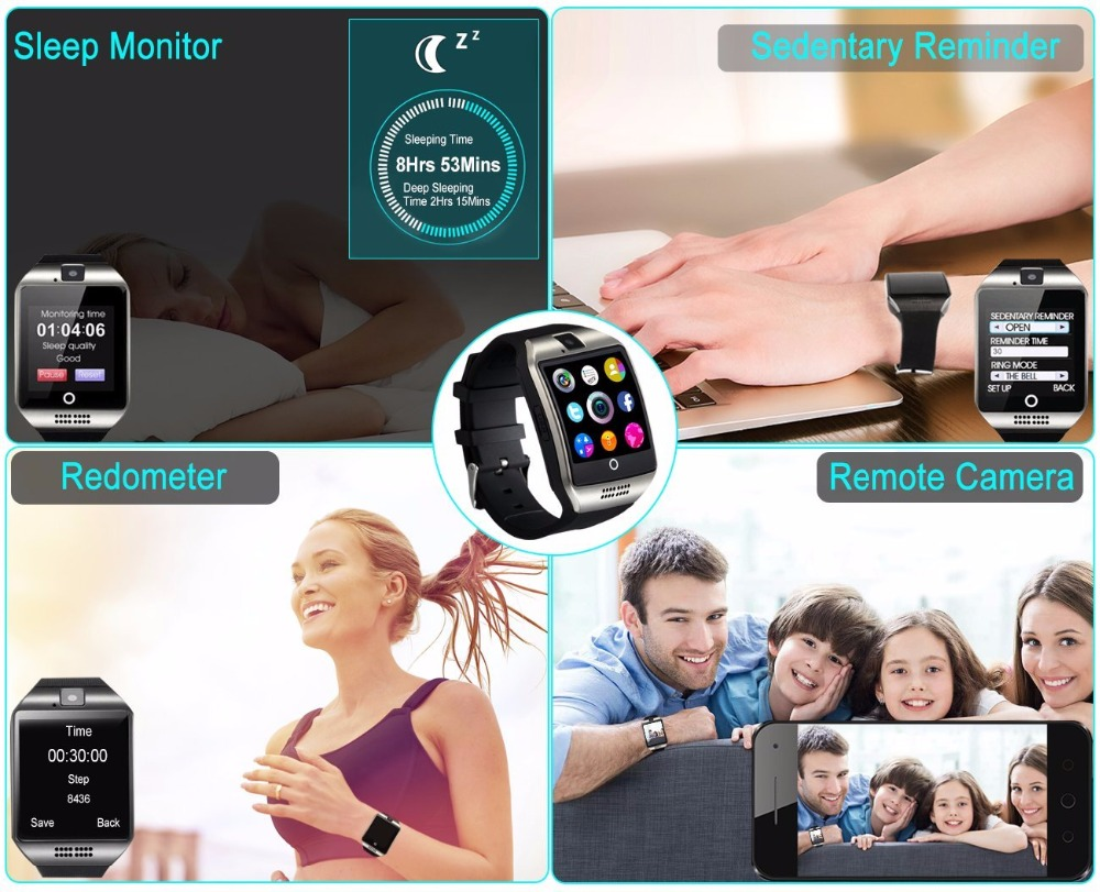 Smart Watch Q18 Plus Clock Sync Notifier Support Sim SD Card