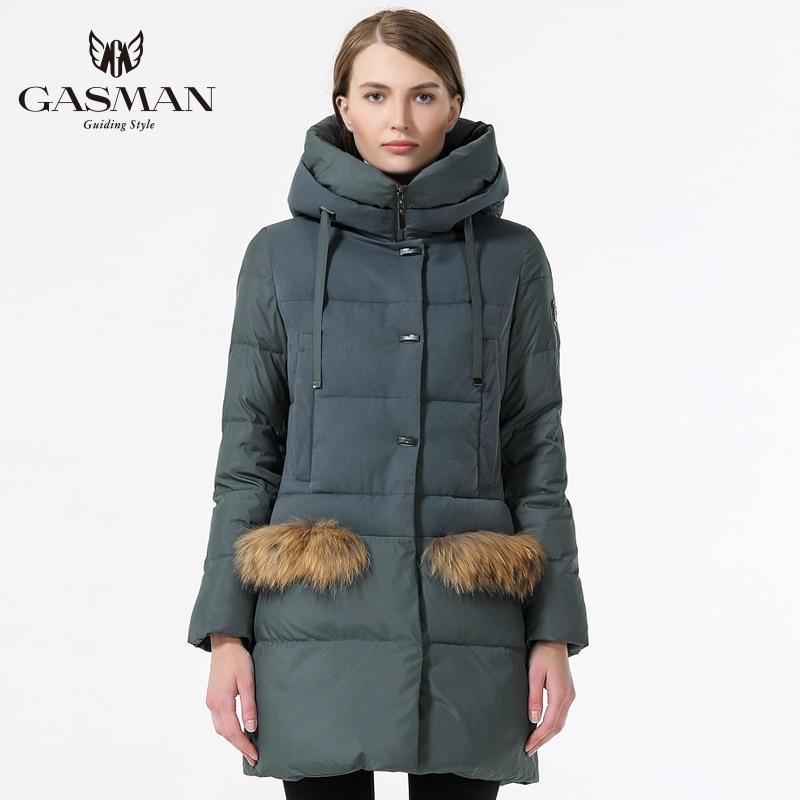 GASMAN Cappotto di Inverno Delle Donne 2018 di Modo Giacca Con Cappuccio Imbottiture Delle Donne di Inverno Caldo Femminile di Spessore Parka Casual Cappotti Con Pelliccia Naturale