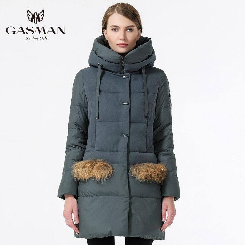 GASMAN Hiver Manteau Femmes 2018 Mode À Capuchon Veste Vers Le Bas Femmes Hiver Chaud Femelle Épais Parka Casual Manteaux Avec Fourrure Naturelle