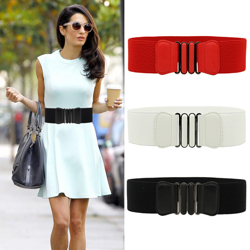 Women Super Wide Waist Belt Vintage Metal Elastic Waistbands Stretch Buckle Waistband Ladies Soft Black Bandage Dress Cummerbund
