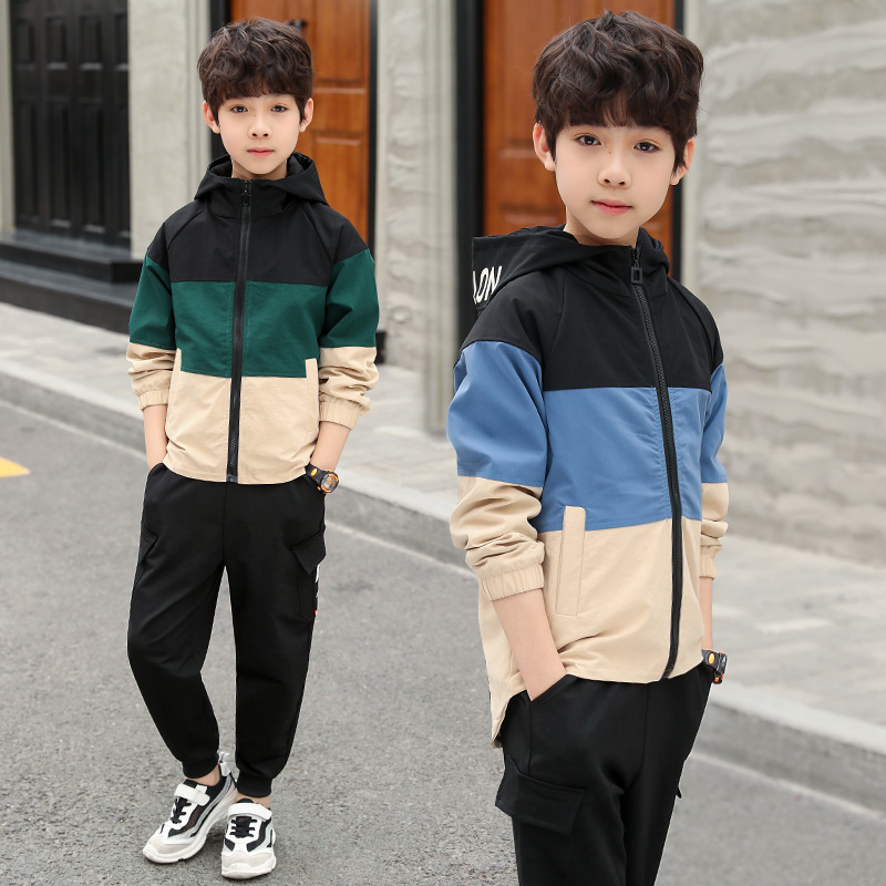 school Boy Autumn Clothes Set Toddler Kids Clothing Patchwork color Long Sleeve boys Coat Pants 2Pcs/set 4 6 8 10 12 14 Years