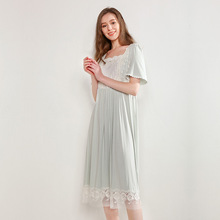 Summer Modal Sleepwear Female Thin Lovely Princess Short Sleeve Lace Nightdress Long Nightgowns Woman Homewear D181220