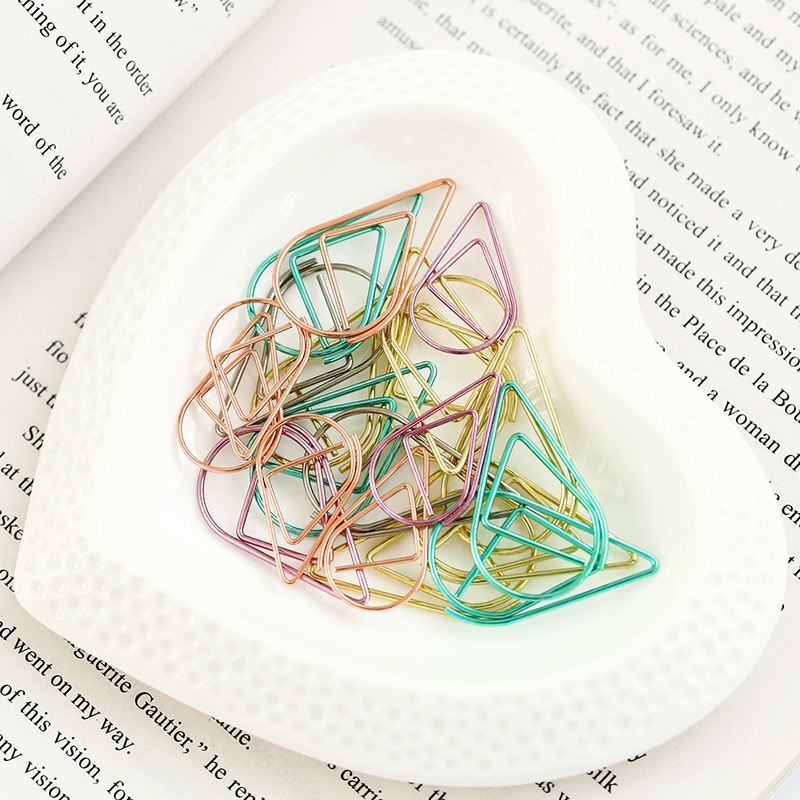 50 pcs lot Metal Material Drop Shape Paper Clips Gold Silver Color Funny Kawaii Bookmark Office Shool Stationery Marking Clip in Clips from Office School Supplies