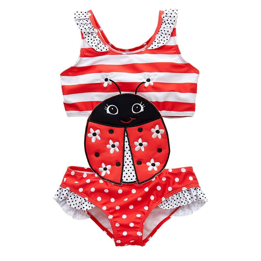 KAVKAS 2020 Kids Girls Swimsuit One Piece Summer Kid Swimwear 1-8T Children Baby Girls Bikini Ruffles Bath Girl Swimming