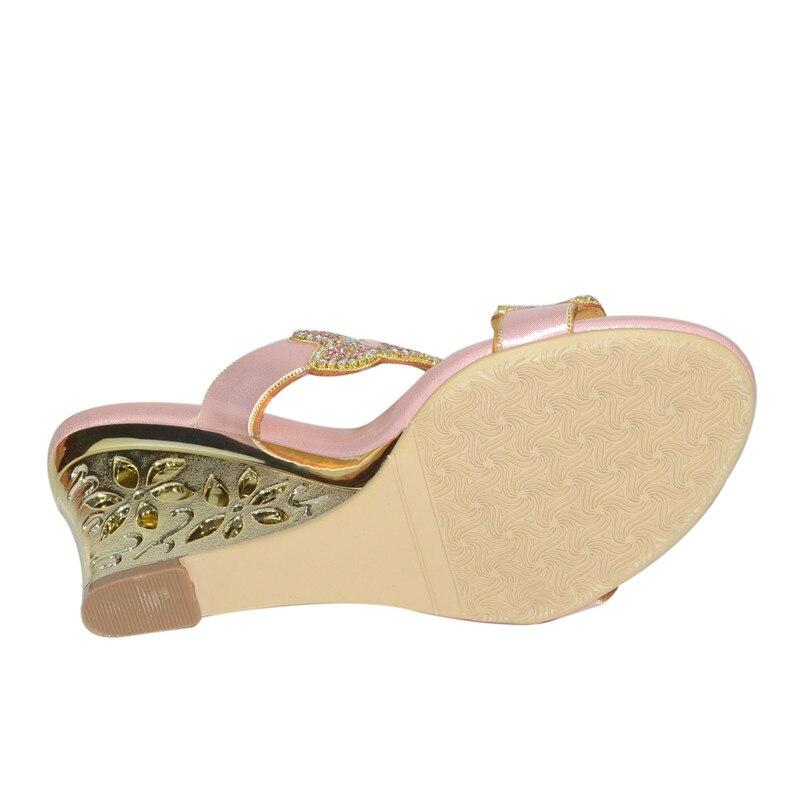 Christia Bella mujer Sexy tacones altos diamantes de imitación sandalias de fiesta Formal boda hebilla zapatos dedo del pie abierto nuevo tacones de cuña zapatillas - 6