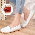 Nuevo Cuero Genuino de Las Mujeres Mocasines Planos Del Ballet Suave Cómodo de La Mujer Enfermera Zapatos Casuales Resbalón En Zapatos de Las Señoras zapatos de mujer