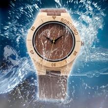 БОБО ПТИЦА Бамбук Часы для Мужчин Ручной Работы Деревянные Часы с Дерева Зерна Кожа Часы 3Bar Водонепроницаемость Водонепроницаемые Часы E14