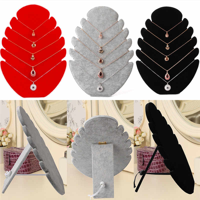 28*20cm Fire Shape Necklace Display Board Jewelry Display Board Black Velvet Jewelry Organizer Shelf Storage Holder Pendant