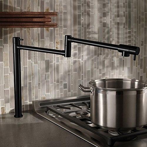 Free ship Deck Mounted 2 Handles Single Hole Brass Pot Filler Kitchen Faucet Oil Rubbed Bronze