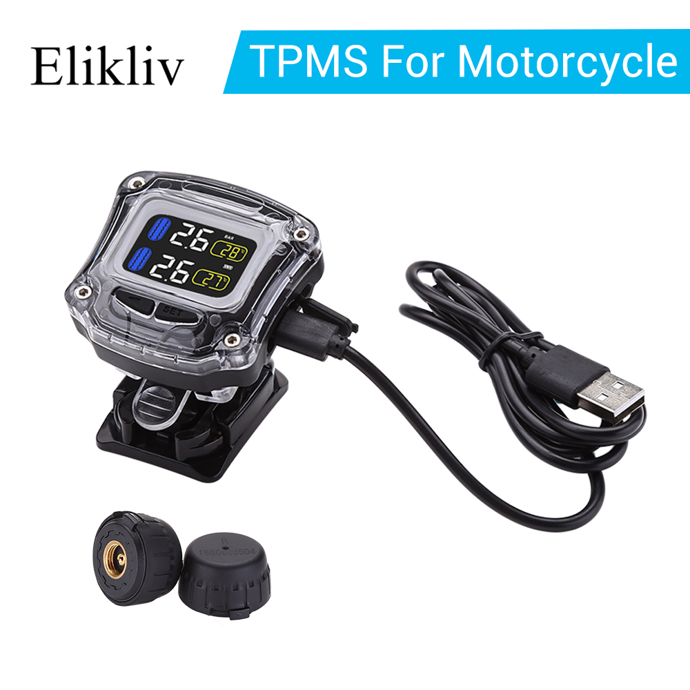 M3-B Motorcycle TPMS Tire Pressure Monitoring System Waterproof LCD Lithium Battery 2 External Mini Sensors